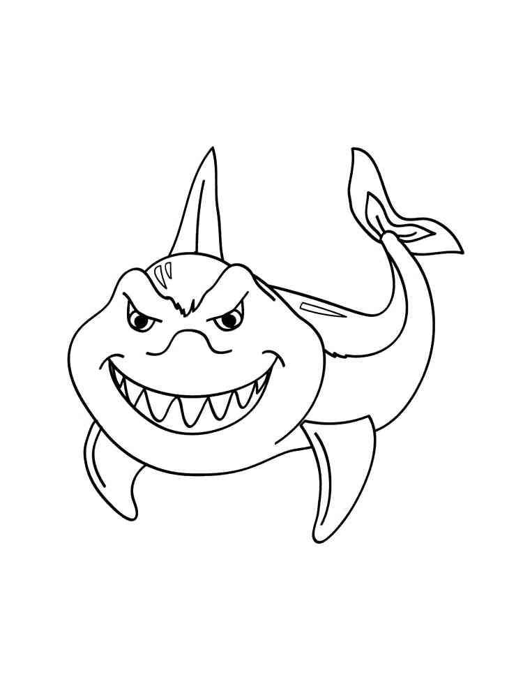 Раскраски Акула - распечатать в формате А4
