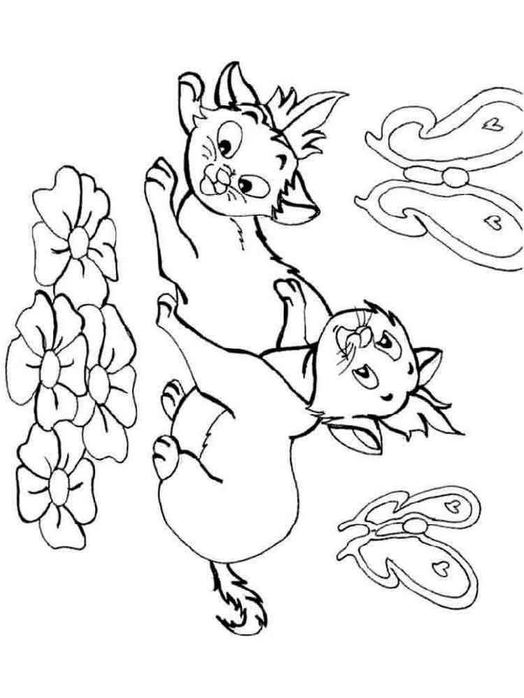 Раскраски кошки и котята. Скачать и распечатать раскраски ...