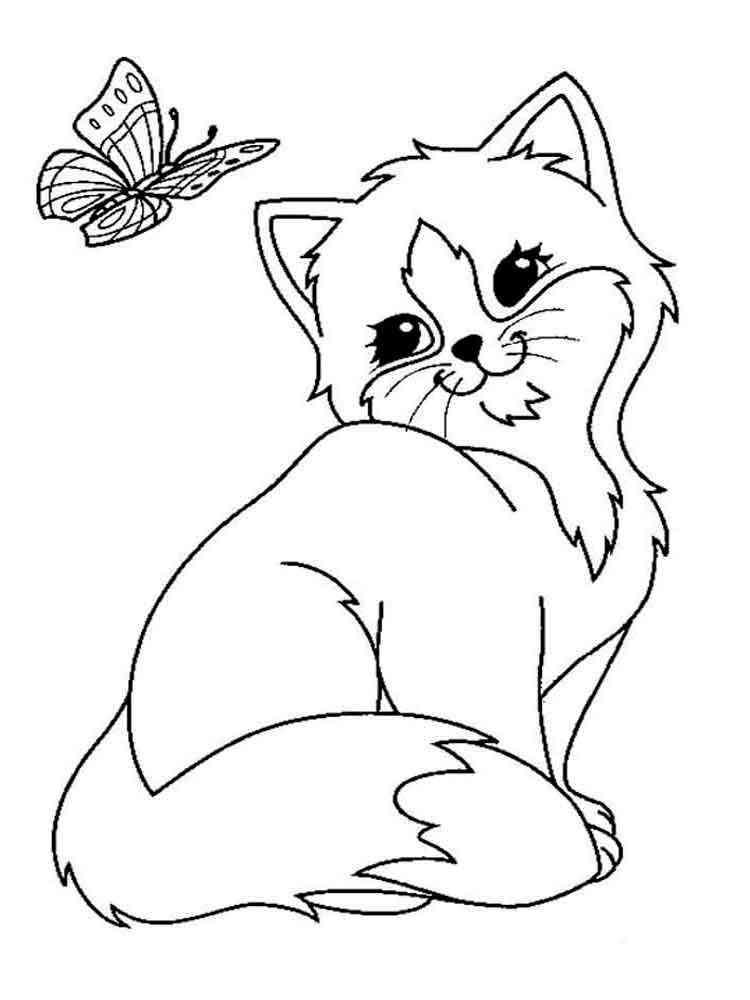 Раскраски кошки и котята - распечатать в формате А4