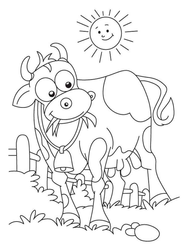 Раскраски Корова для детей - распечатать в формате А4