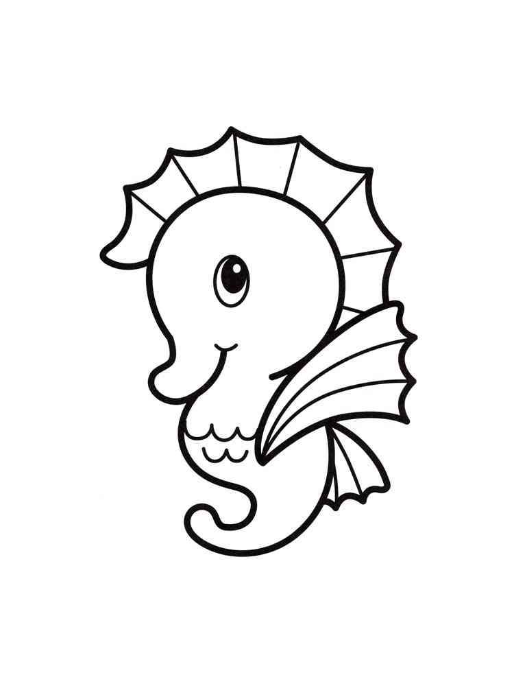 Раскраска Морской конек - распечатать в формате А4
