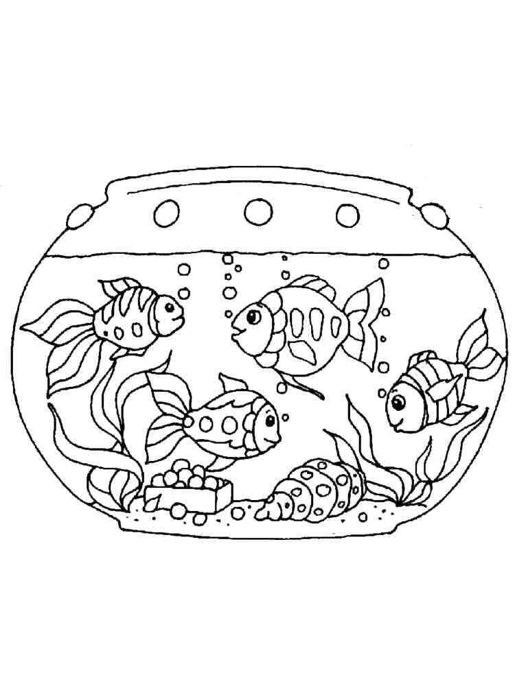 Раскраски Рыбки в аквариуме - распечатать в формате А4