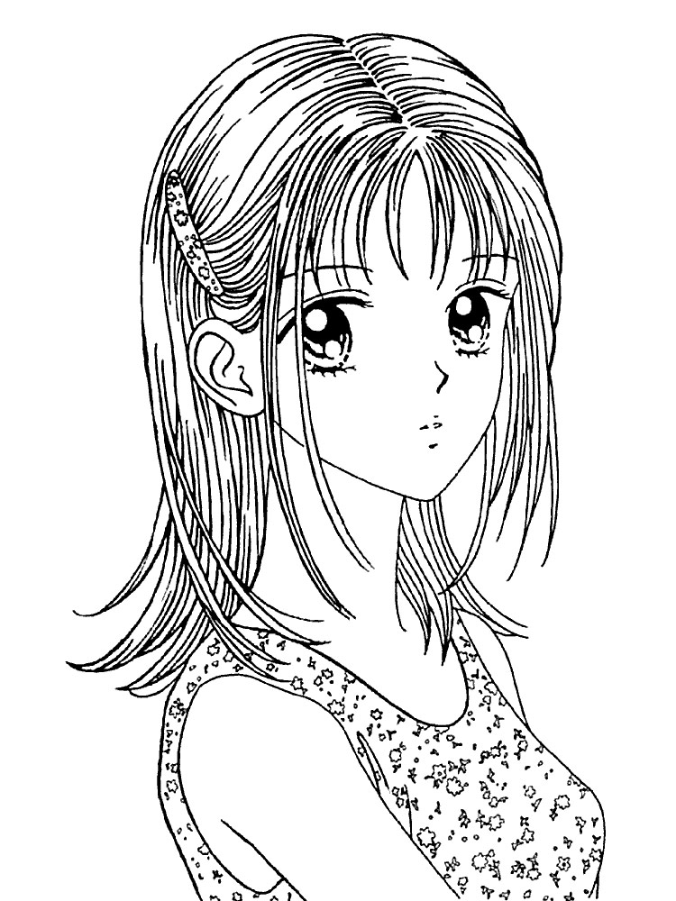 Картинки аниме девушек раскраски