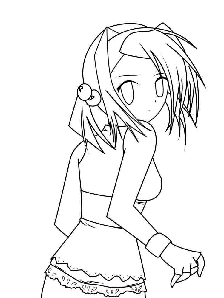 Раскраски Девушек Аниме - распечатать в формате А4