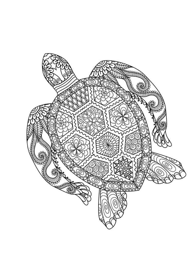 Раскраски Черепаха Антистресс - распечатать в формате А4
