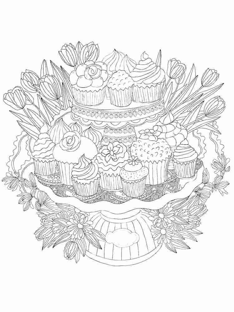 Раскраски Еда Антистресс - распечатать в формате А4