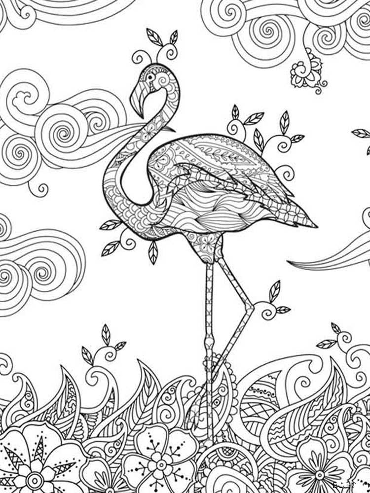 Раскраски Фламинго Антистресс - распечатать в формате А4