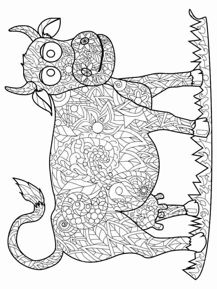Раскраски Корова Антистресс - распечатать в формате А4