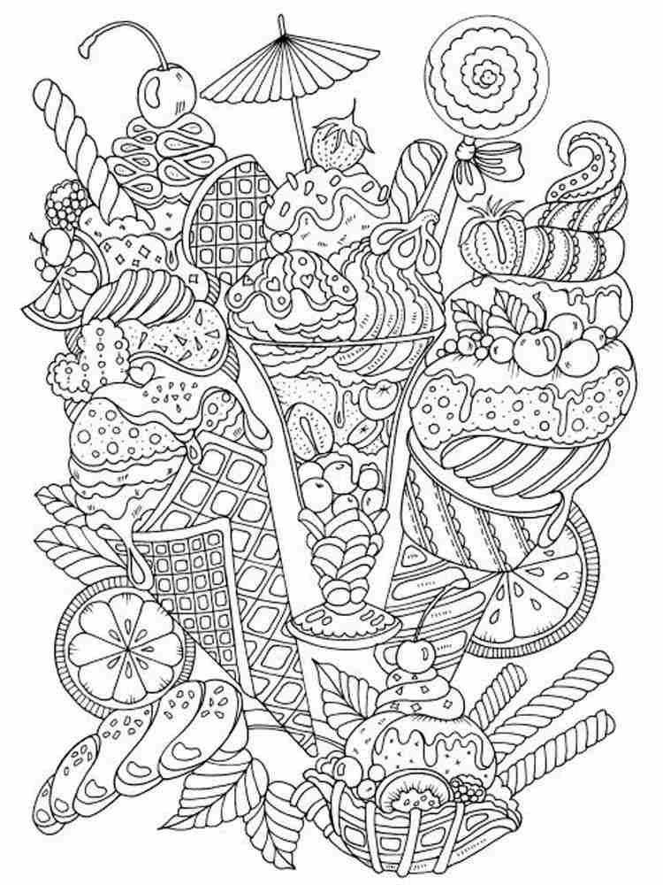 Раскраски Мороженое Антистресс - распечатать в формате А4