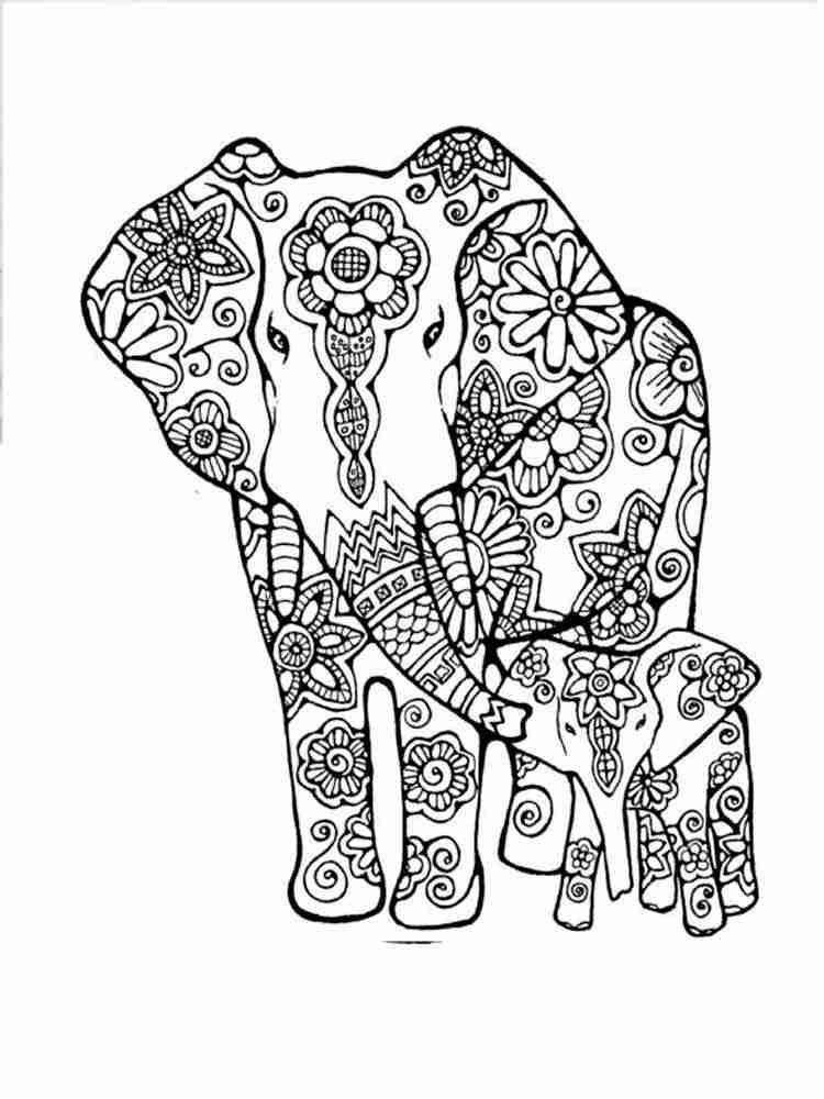 Раскраски для взрослых слонов