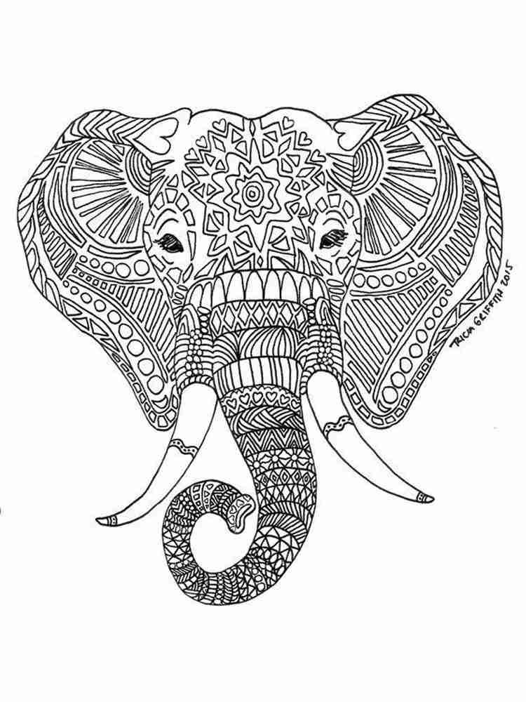 Раскраски Слон Антистресс - распечатать в формате А4