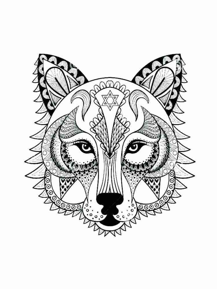 Раскраски Волк Антистресс - распечатать в формате А4