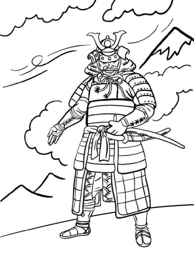 Раскраска Самурай - распечатать в формате А4