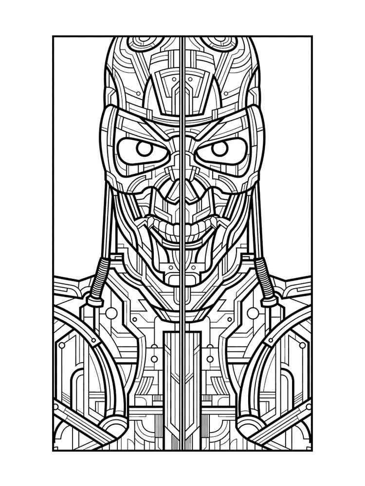 Раскраска Терминатор - распечатать в формате А4