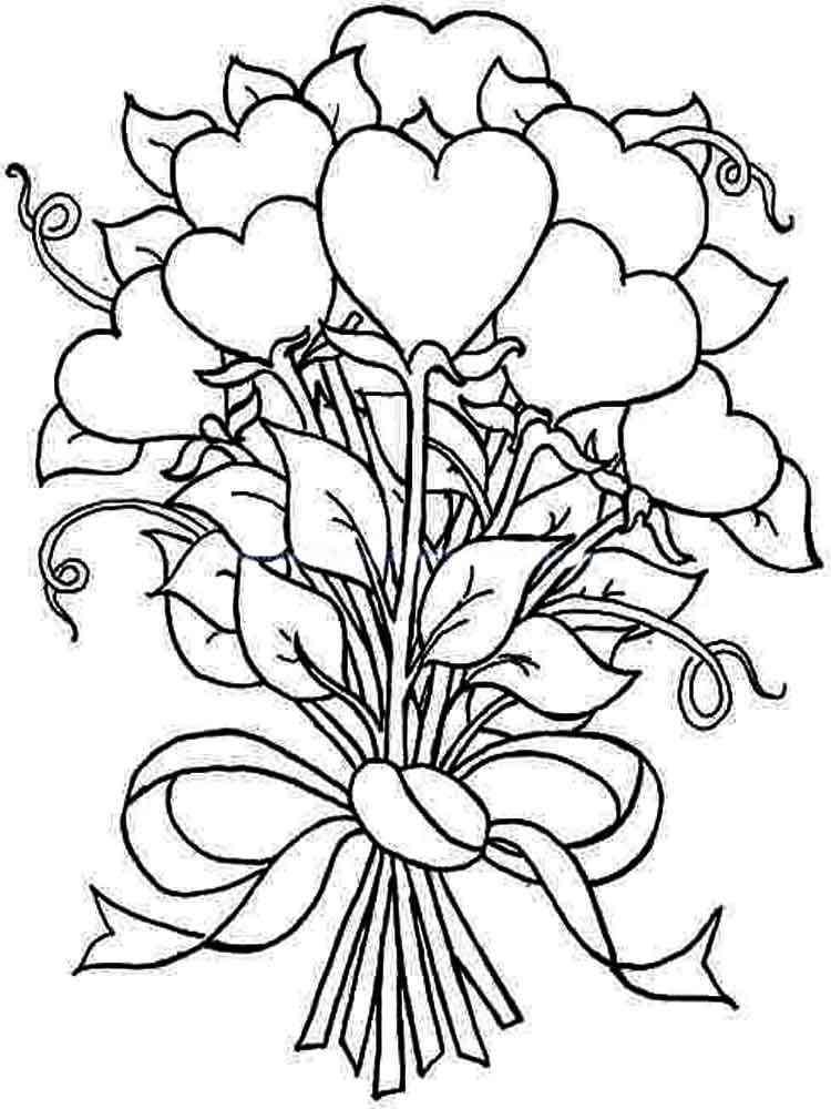 Раскраски букеты цветов распечатать