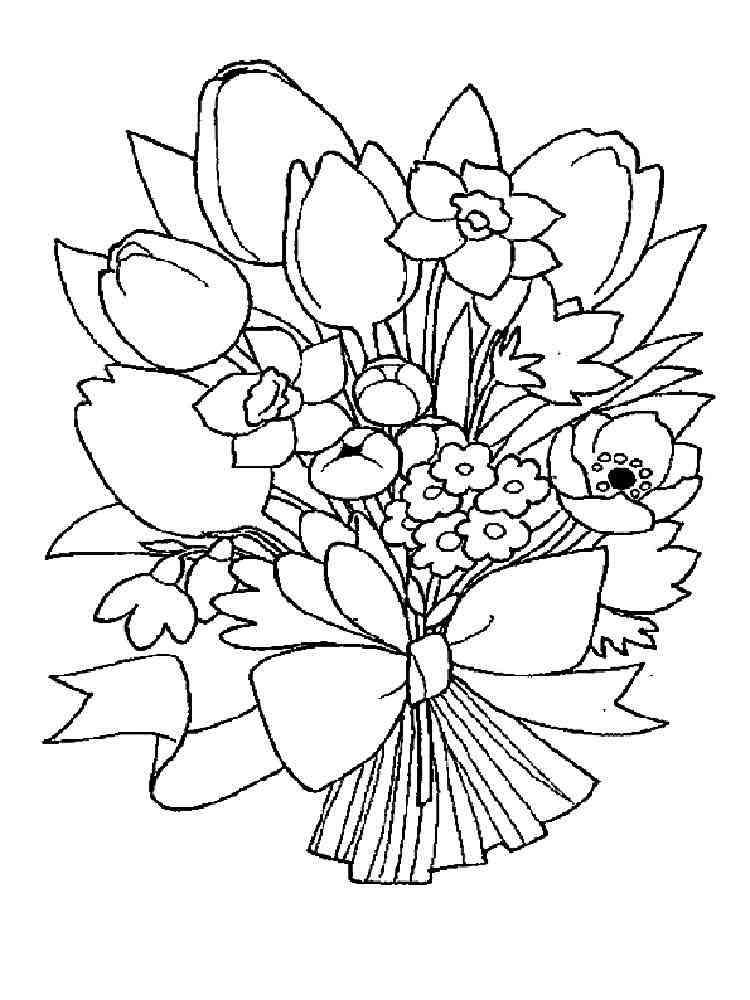 Раскраски Букет цветов - распечатать в формате А4