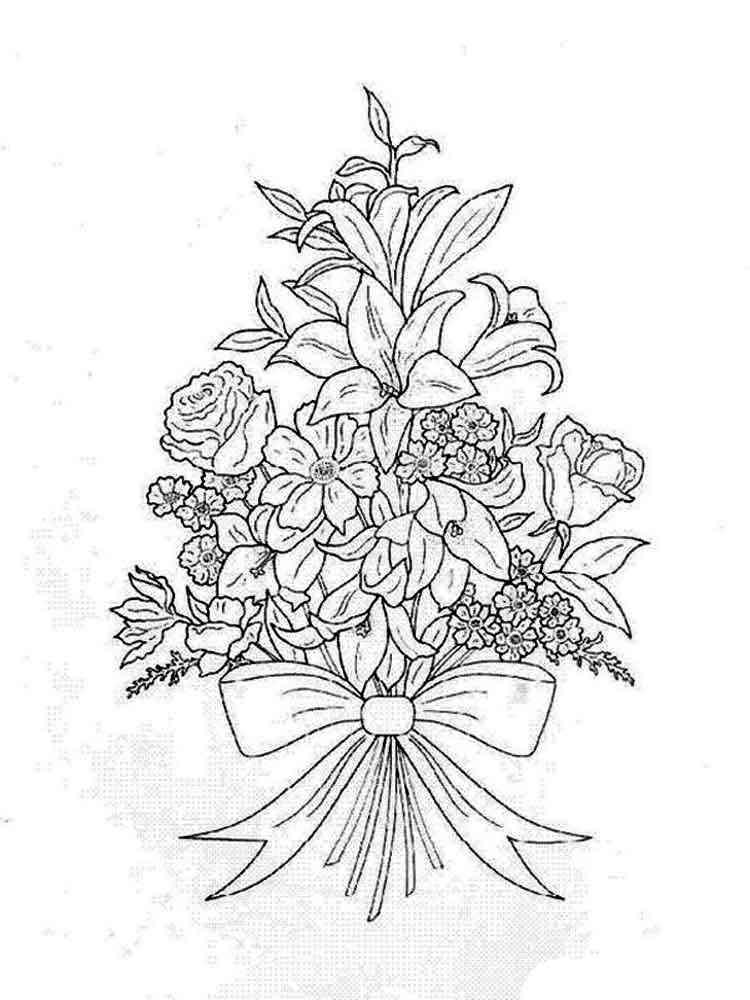 Картинки букет цветов для раскрашивания