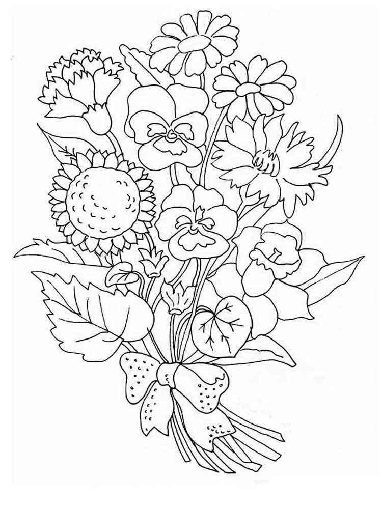 Открытка с цветами раскраска