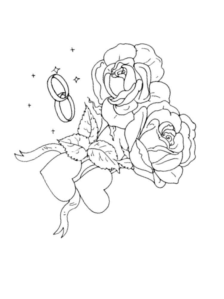 Распечатать раскраски цветы розы для