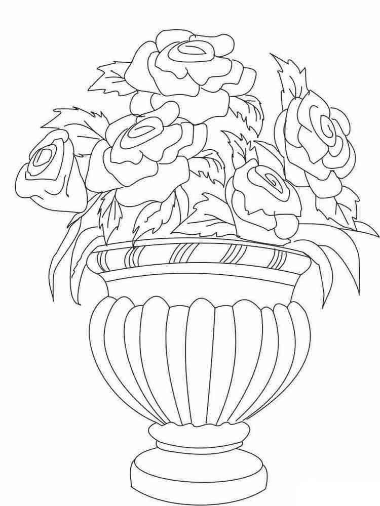 Раскраска ваза с цветами, оформление открыток