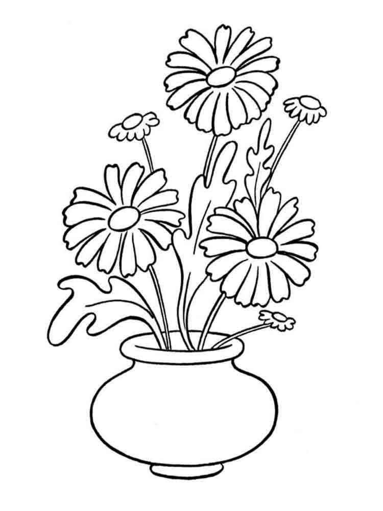 Вазы и цветы раскраска