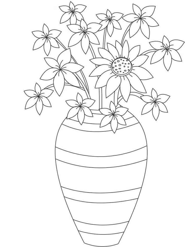 распечатать раскраски цветы в вазе оконечности