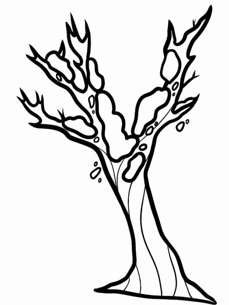 Раскраска Деревья зимой - распечатать в формате А4
