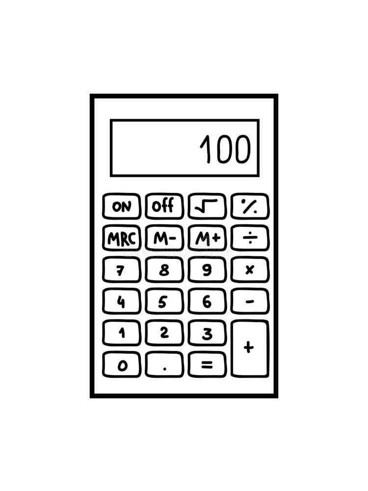 Раскраски Калькулятор - распечатать в формате А4