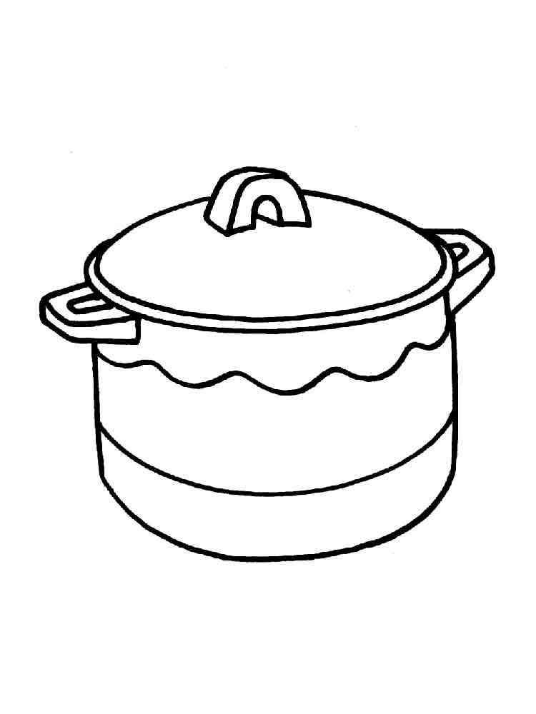 Раскраски Кастрюля - распечатать в формате А4