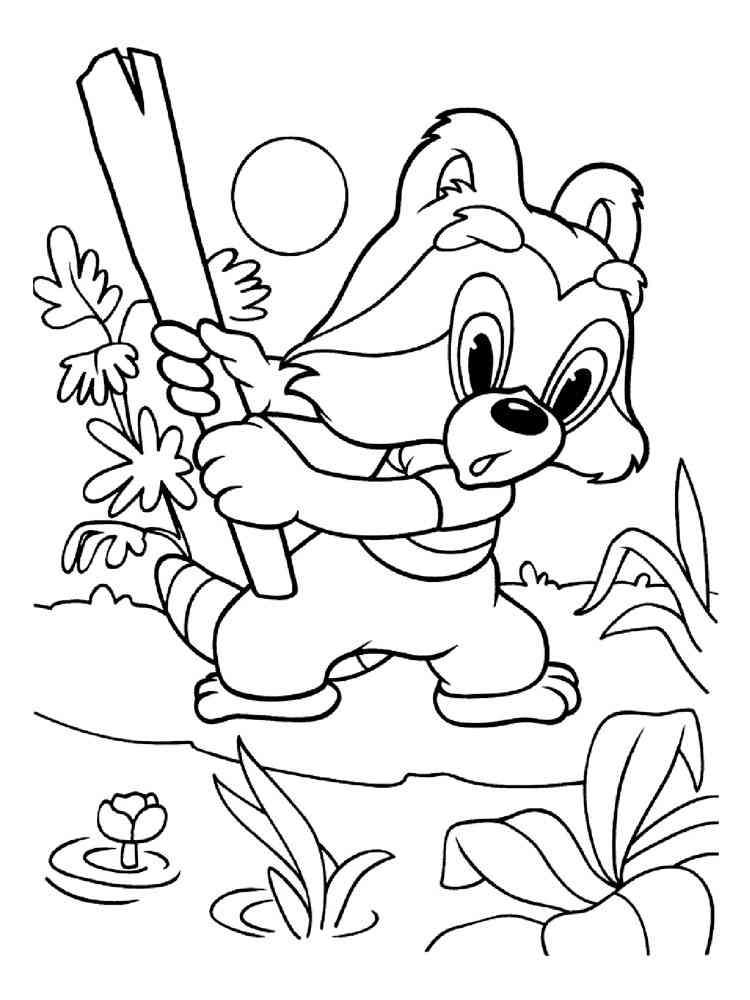 Раскраски Крошка енот - распечатать в формате А4