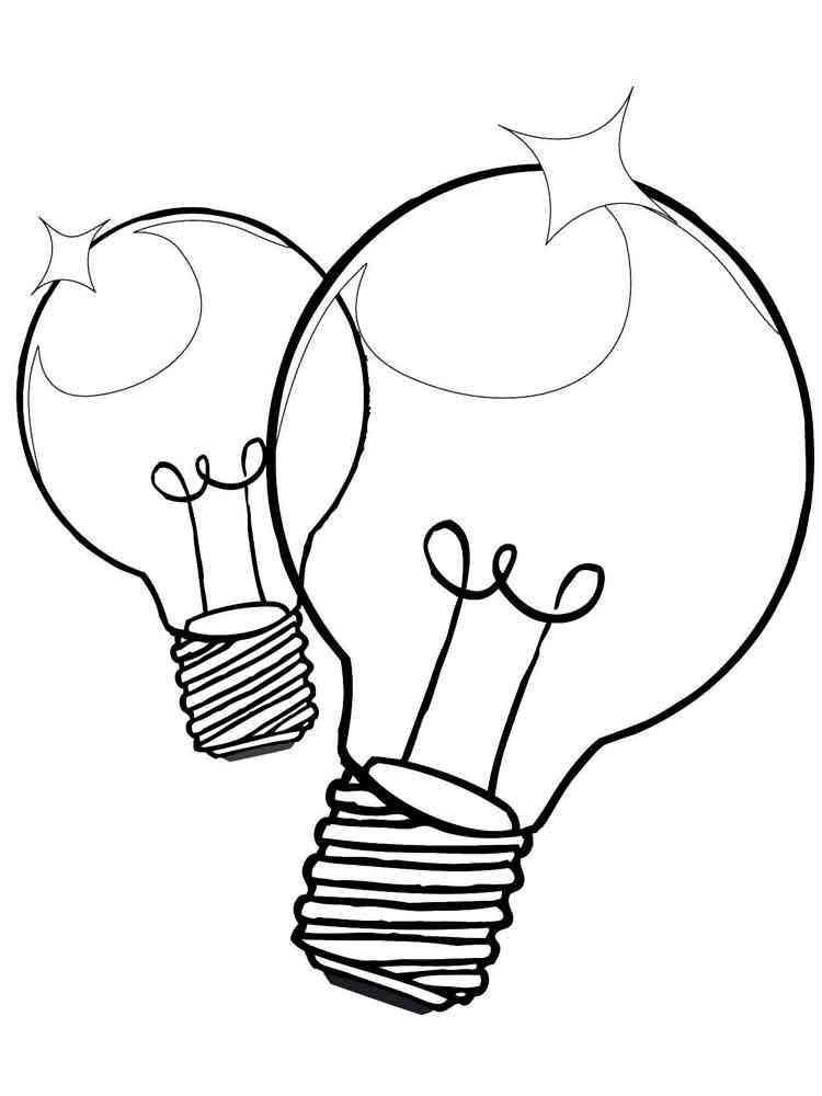 Раскраски Лампочка - распечатать в формате А4