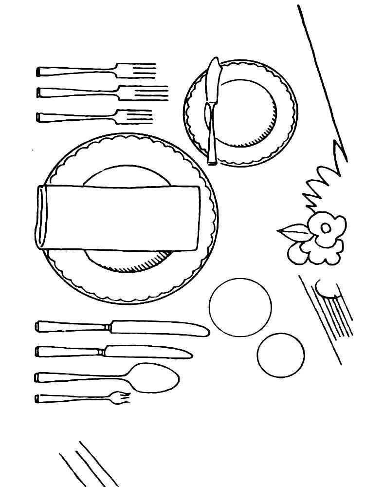 Картинки посуда для детей для занятий черно-белые
