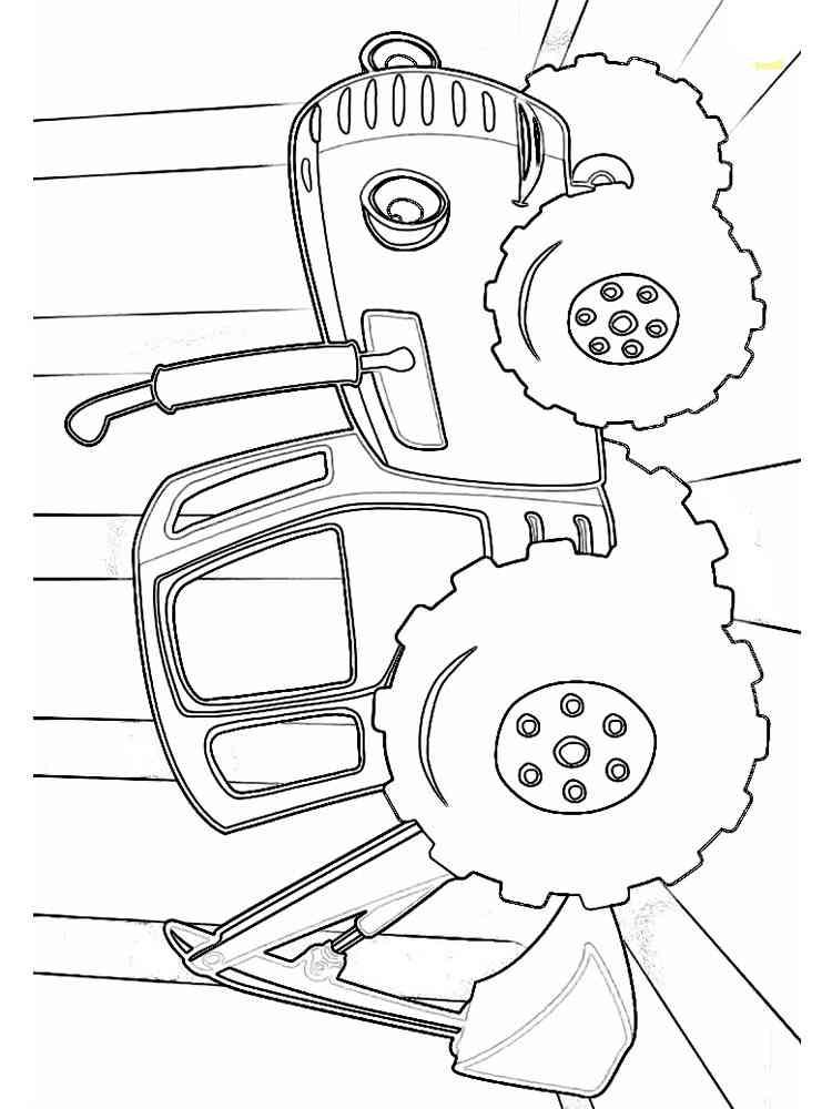 Раскраски Синий трактор - распечатать в формате А4