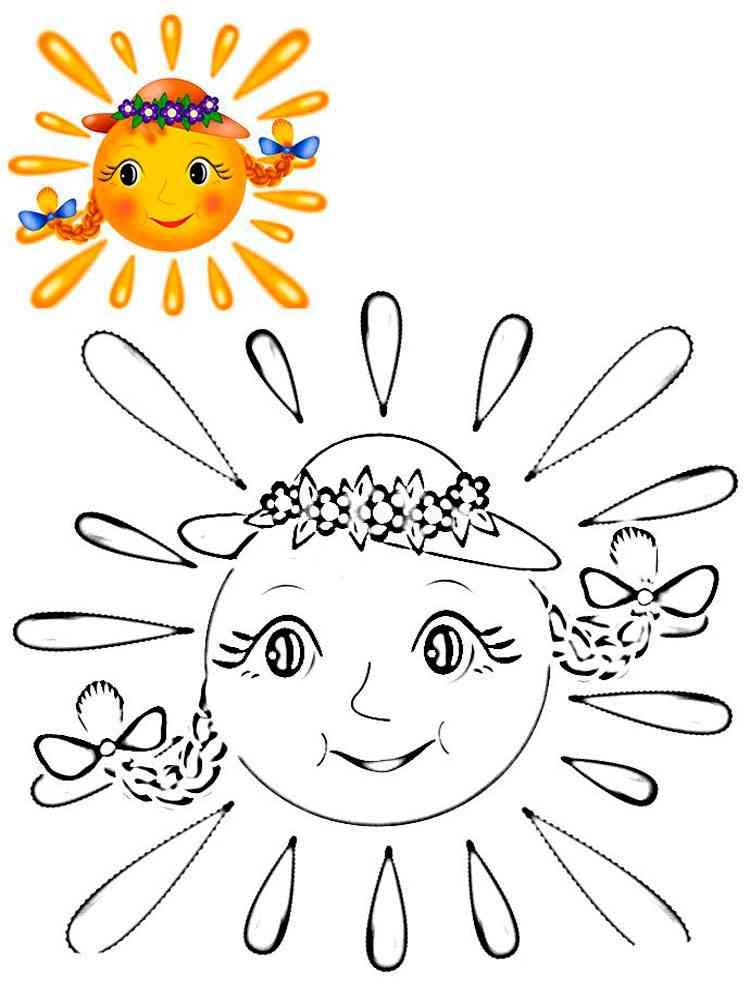 Картинка солнце раскраска