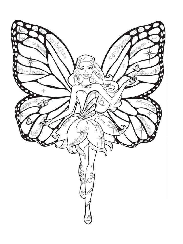 Раскраска Барби Фея - распечатать в формате А4