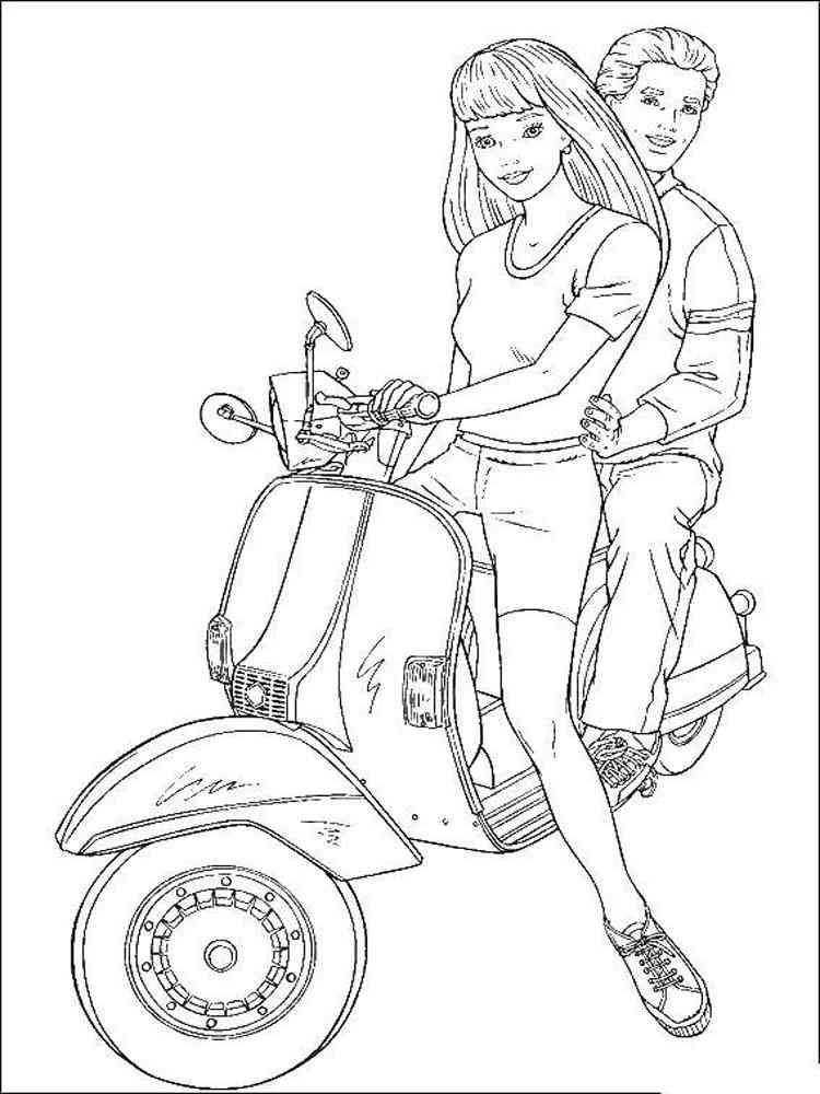 Раскраска Барби и Кен - распечатать в формате А4