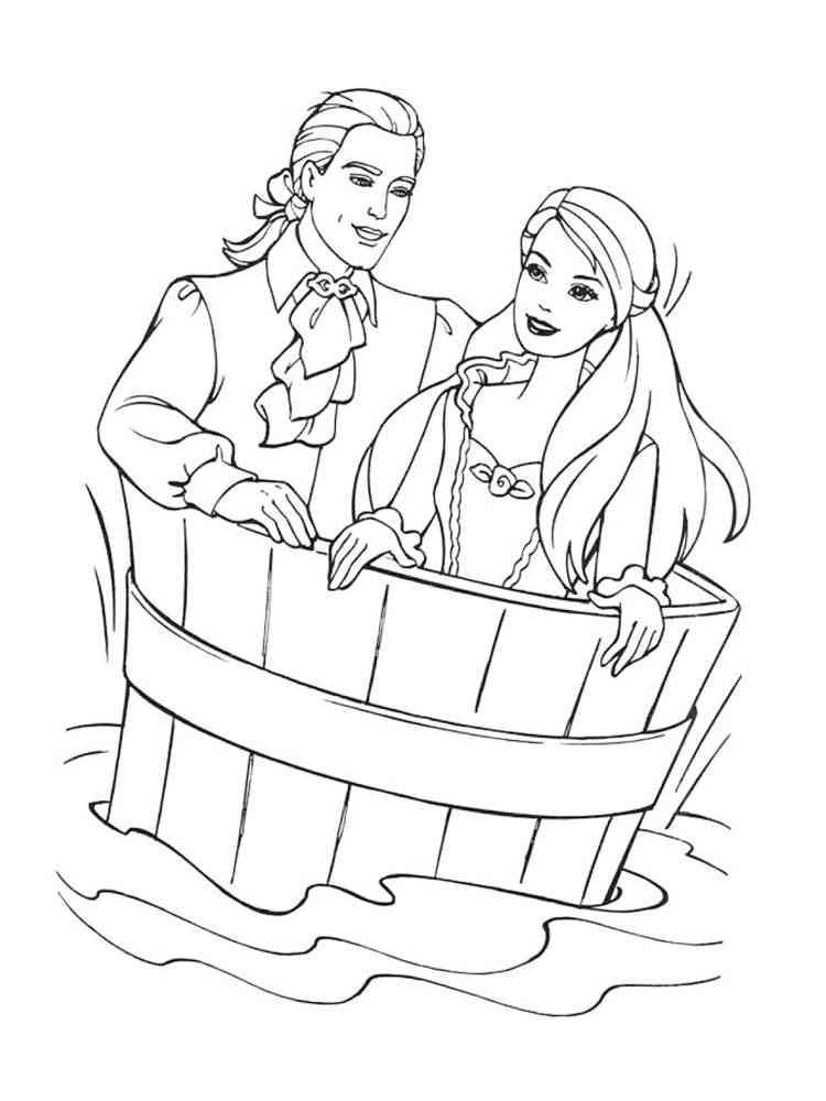 Раскраска свадьба барби и кена