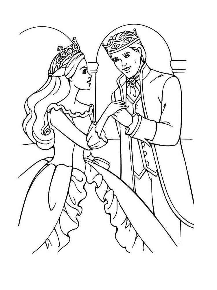 Раскраска Барби Принцесса - распечатать в формате А4