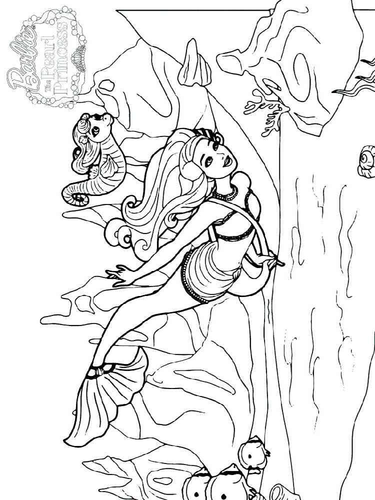 Раскраска Барби Русалка - распечатать в формате А4