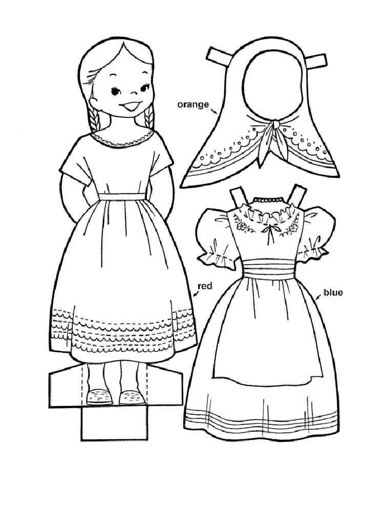 раскраски платье для куклы распечатать подробностями понравившихся