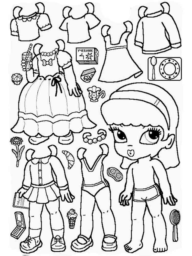 Раскраска Бумажные куклы - распечатать в формате А4