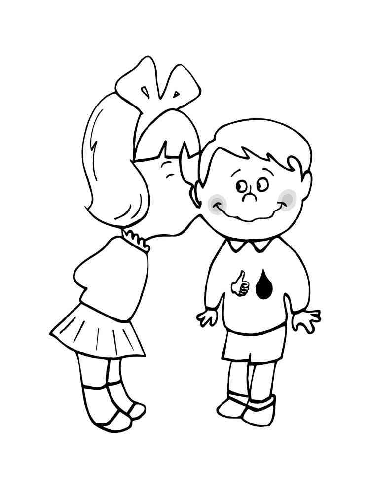 Раскраски Поцелуй - распечатать в формате А4