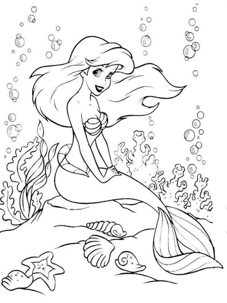 Раскраски Русалочка Ариэл - распечатать в формате А4