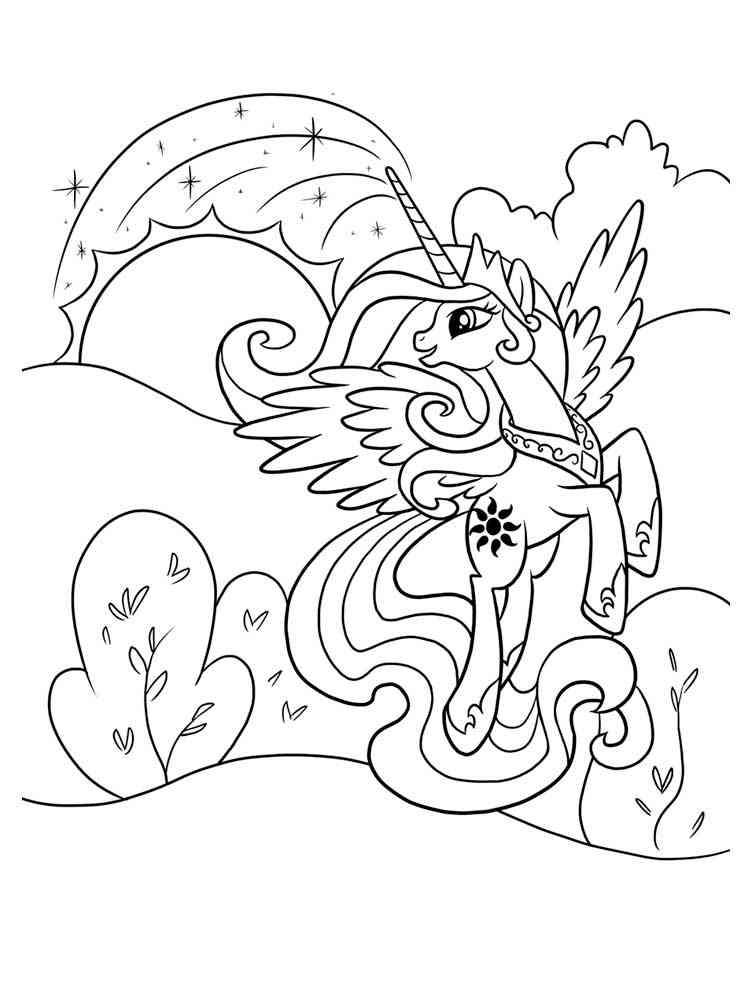 Раскраска Принцесса Селестия - распечатать в формате А4