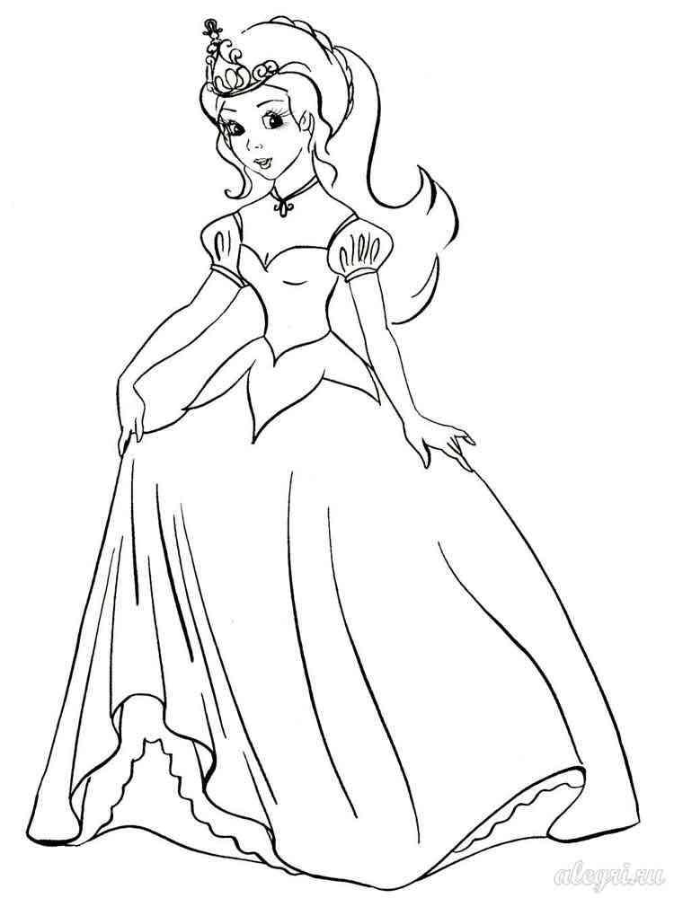 Раскраска Принцессы - распечатать в формате А4
