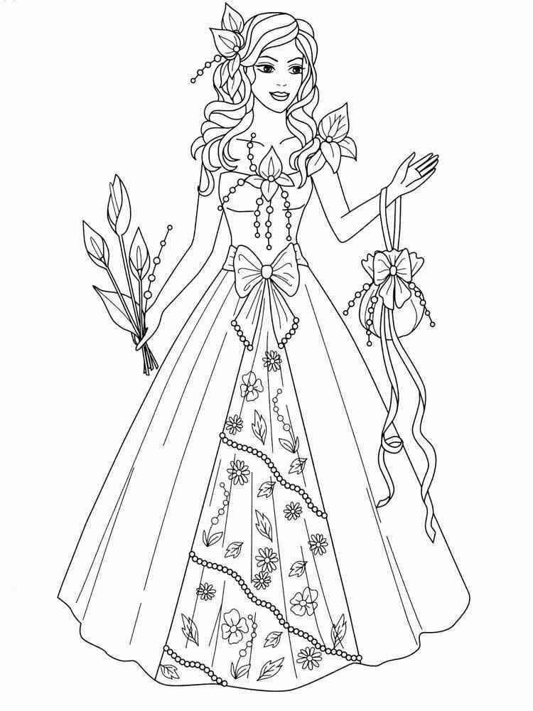 Раскраски платьев принцесс