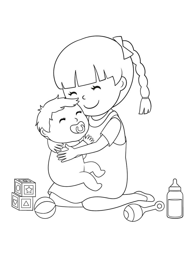 Раскраска Сестры - распечатать в формате А4