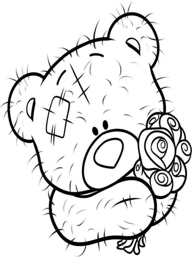 Раскраска мишку тедди