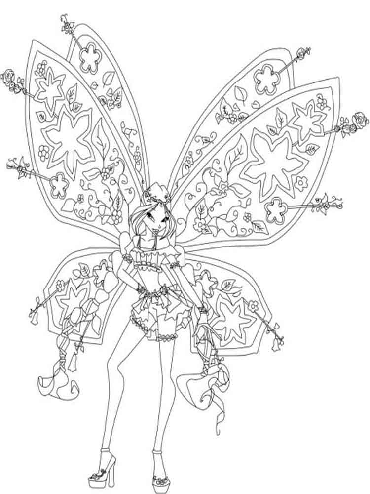 Раскраски Флора WINX - распечатать в формате А4