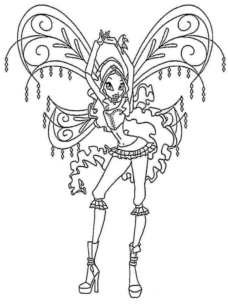Раскраски Лейла WINX - распечатать в формате А4